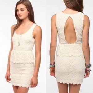 Pins & Needles Cream Lace Open Back Bodycon Dress